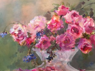 April Nelson, Island Roses, mixed media, 300 dpi