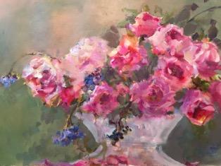April Nelson, Island Roses, mixed media, 300 dpi